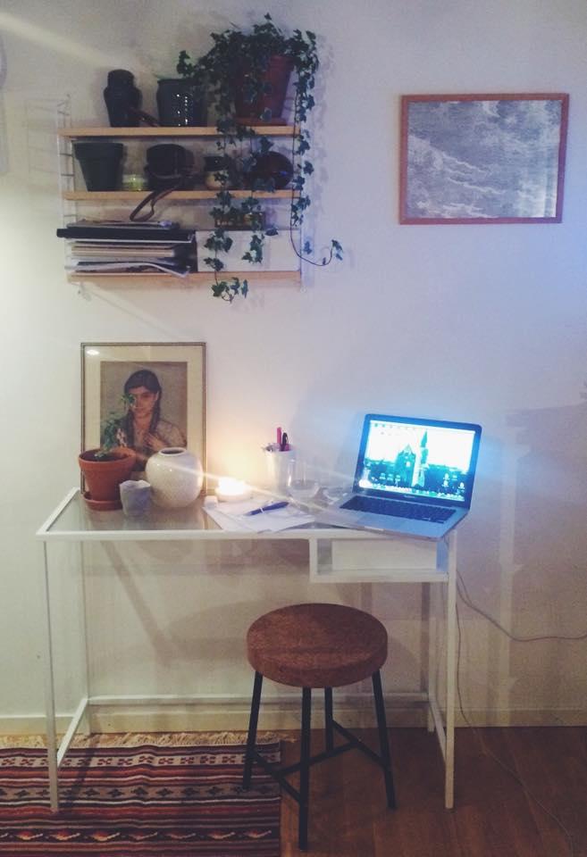 Mitt skrivbord hemma hos mig