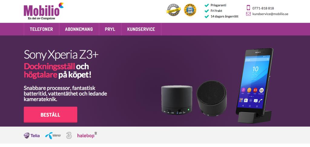 Startsidan på Mobilio.se