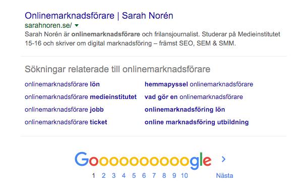 Sarahnoren.se–sida 1 i Google